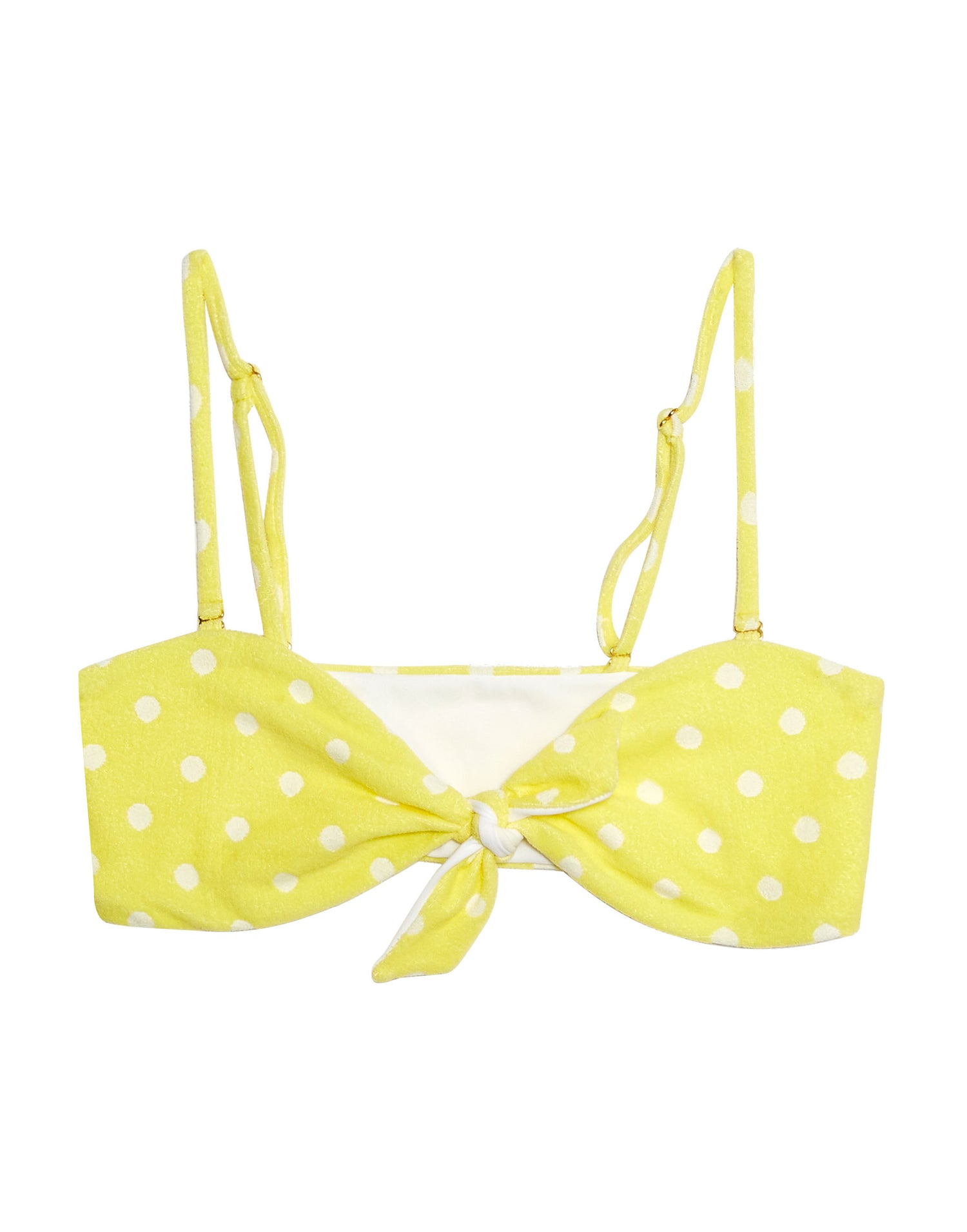 Layla Bandeau Bikini Top in Lemon Yellow Polka Dot with Straps - product view
