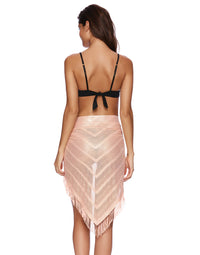 Rose Gold Fringe Bikini Coverup - back view