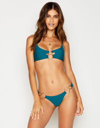 Lexi Bralette Bikini Top in Teal with Gold Hardware - front view