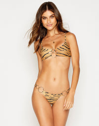 Nadia Skimpy Bikini Bottom in Tiger with Gold Hardware - front view