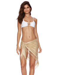 Gold Fringe Sarong for Beach Coverup - front view