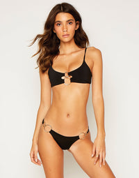 Lexi Bralette Bikini Top in Black with Gold Hardware - front view