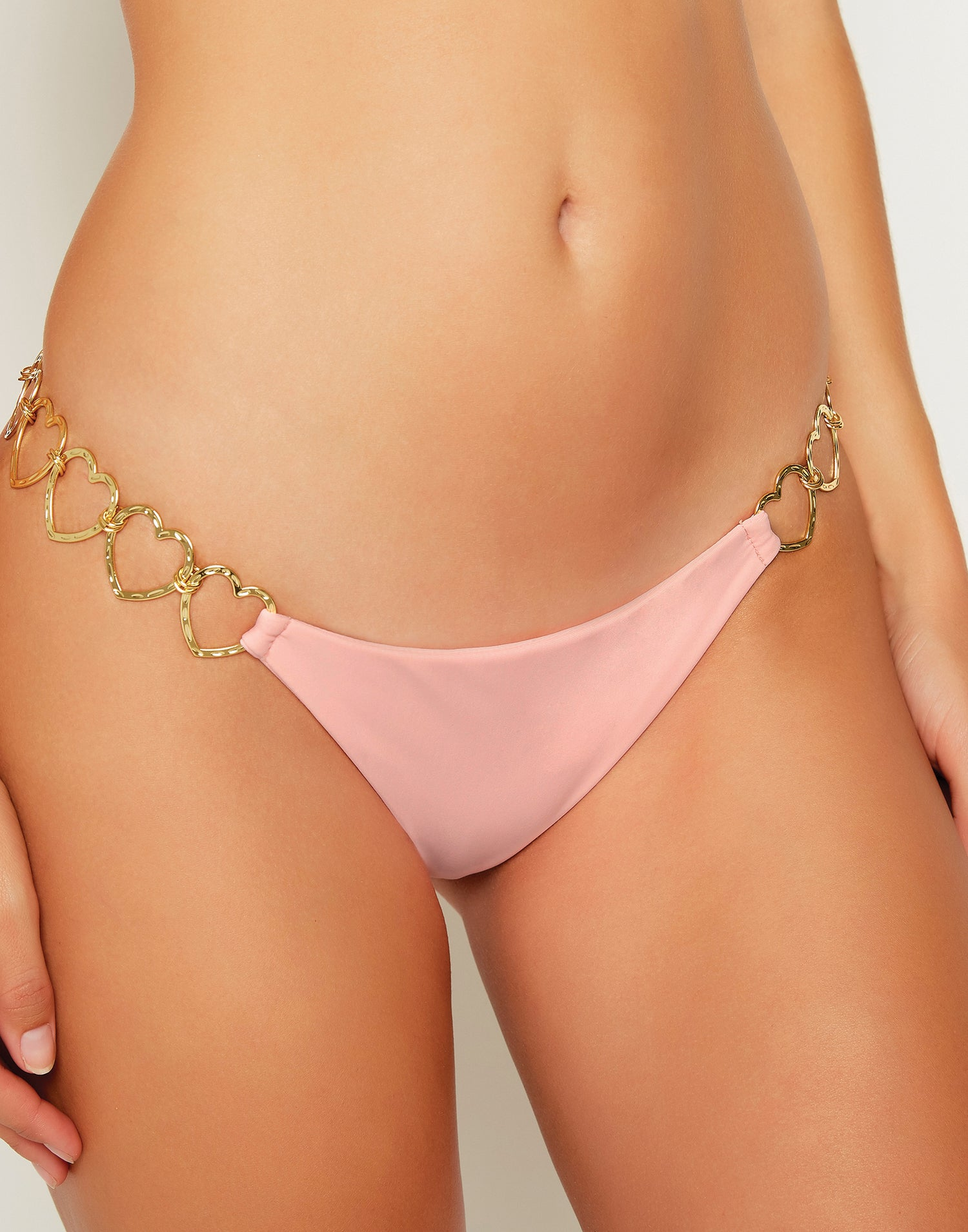 Lexi Love Brazilian Bikini Bottom in Cherry Blossom with Gold Heart Hardware - detail view