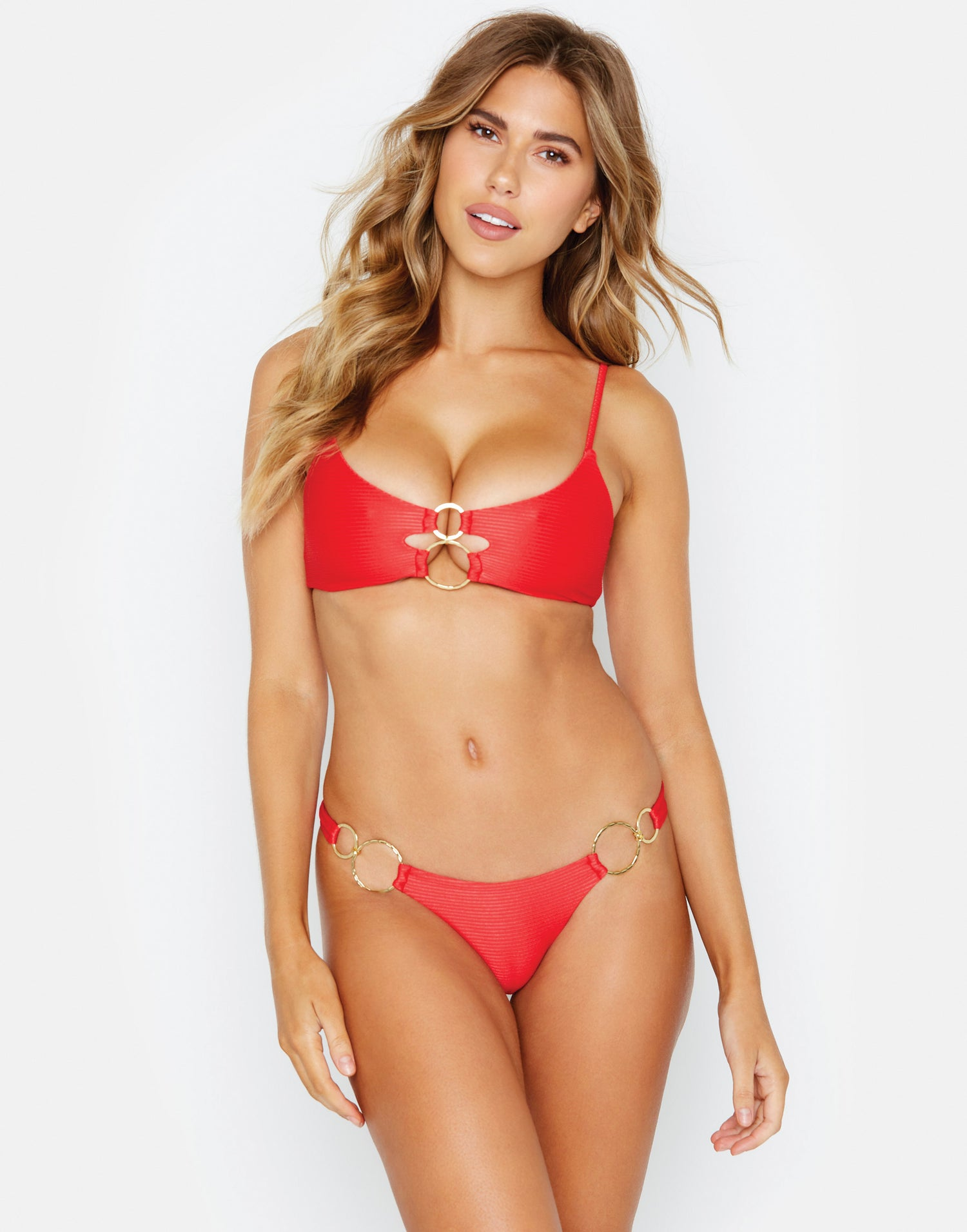 Nadia Skimpy Bikini Bottom in Red Rib with Gold Hardware - front view