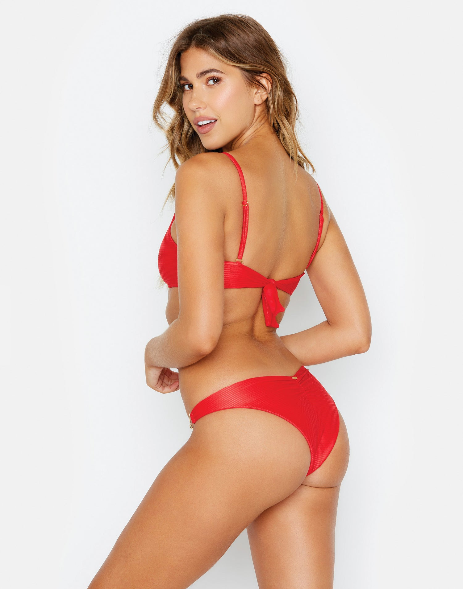 nadia red ribbed bikini bottom