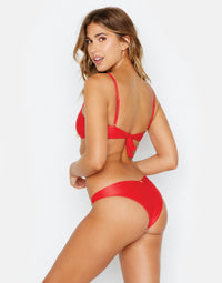 Nadia Skimpy Bikini Bottom in Red Rib - back view