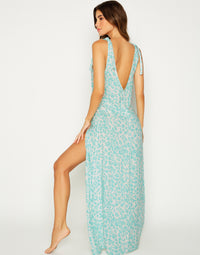 Lily Beach Cover Up Maxi Dress in Aqua Leopard with Leg Slit - back view