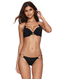 Lisa Push Up Bikini Top in Black with Gold Hardware - front view