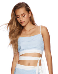 Lola Crop Top with Side Wrap in Riviera Stripe - detail view