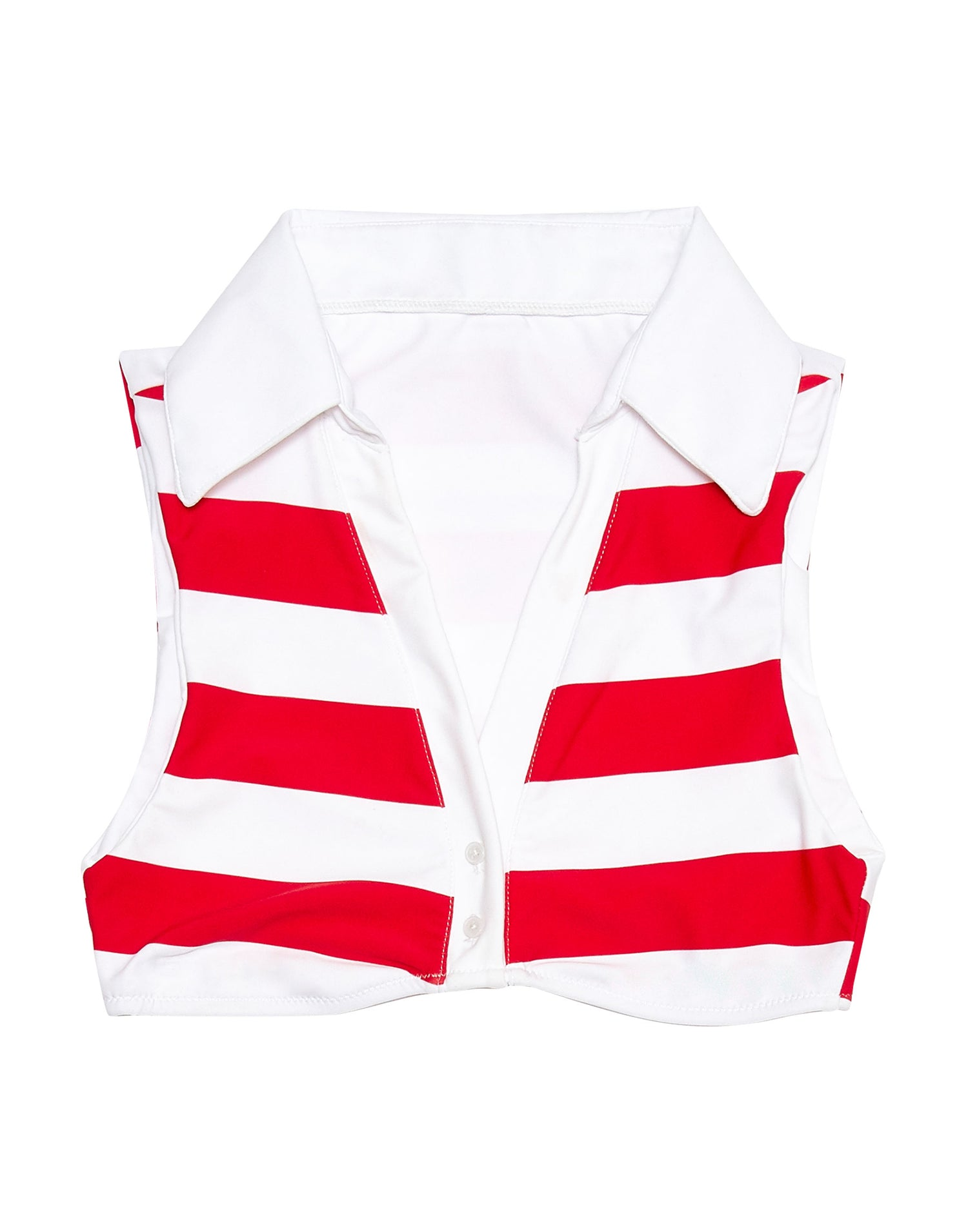 Lola Crop Bikini Top with a Collar in Red Stripe - product view