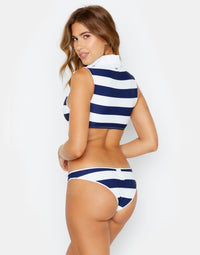 Lola Crop Bikini Top with a Collar in Navy Stripe - back view