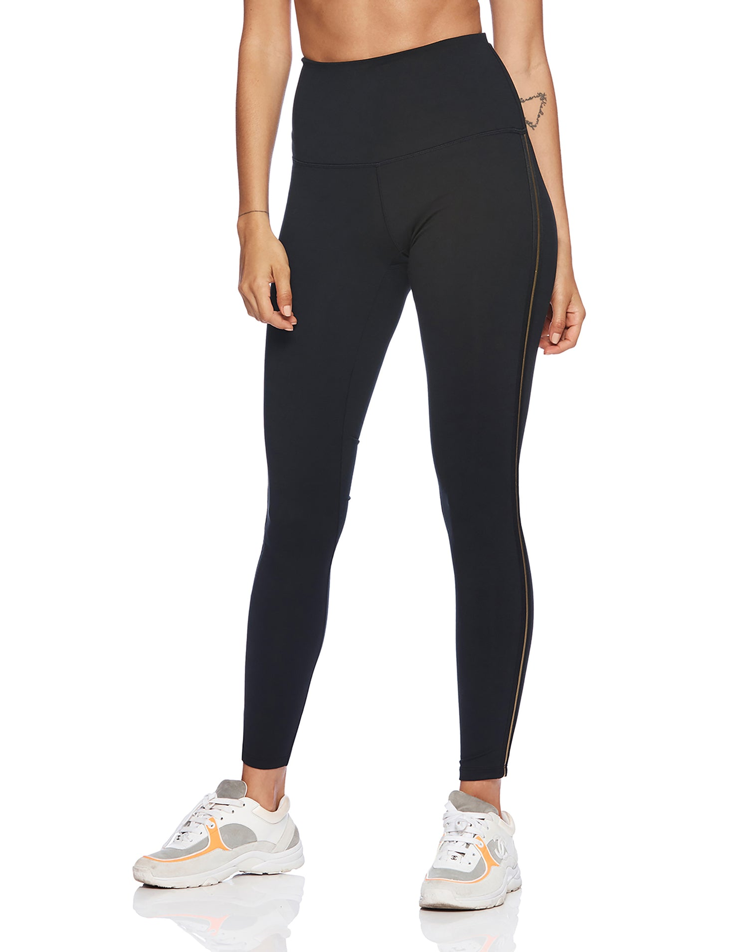 Lolo Legging in Black with Gold Stripe - alternate front view