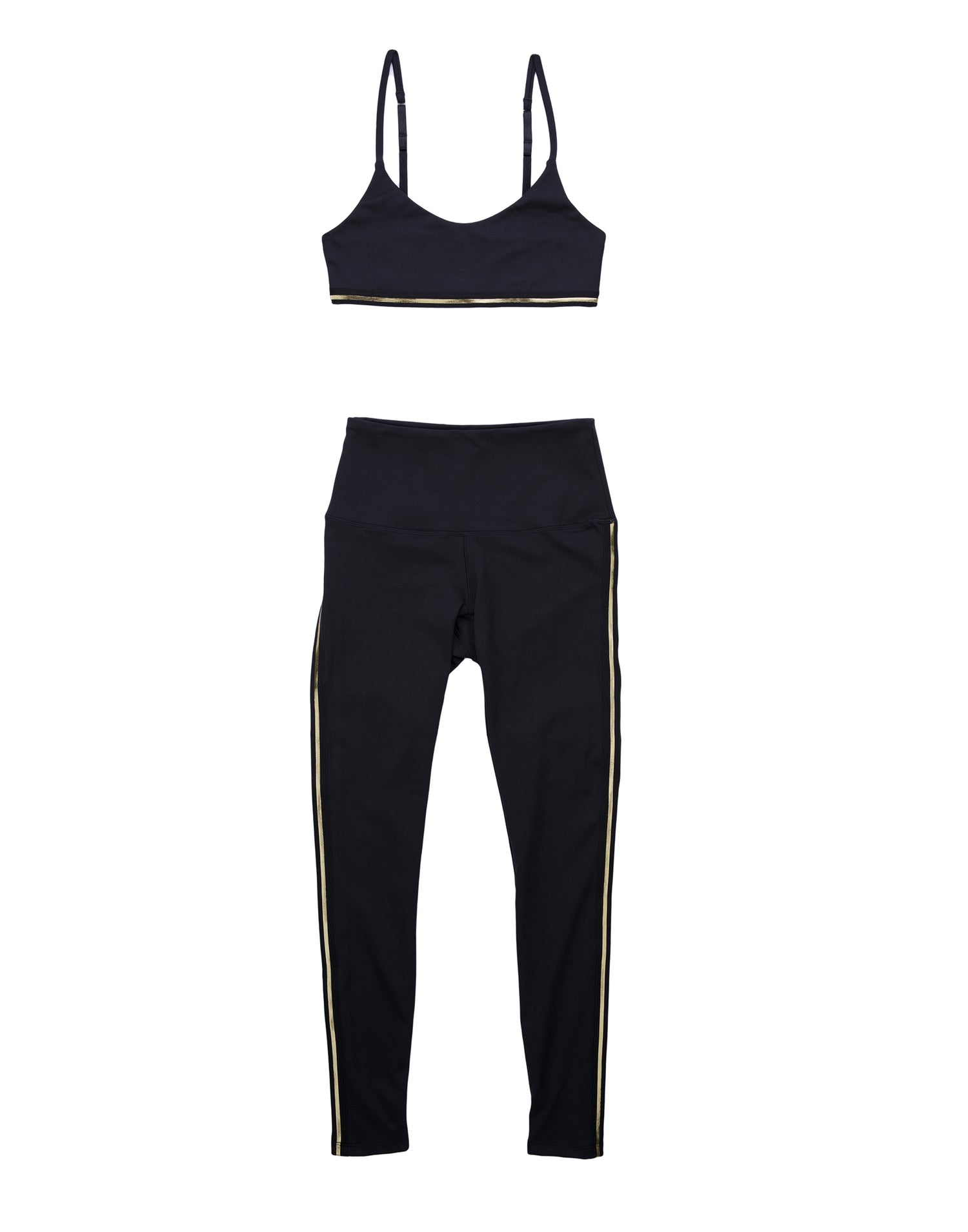 Lolo Sports Bra in Black with Gold Stripe - product view