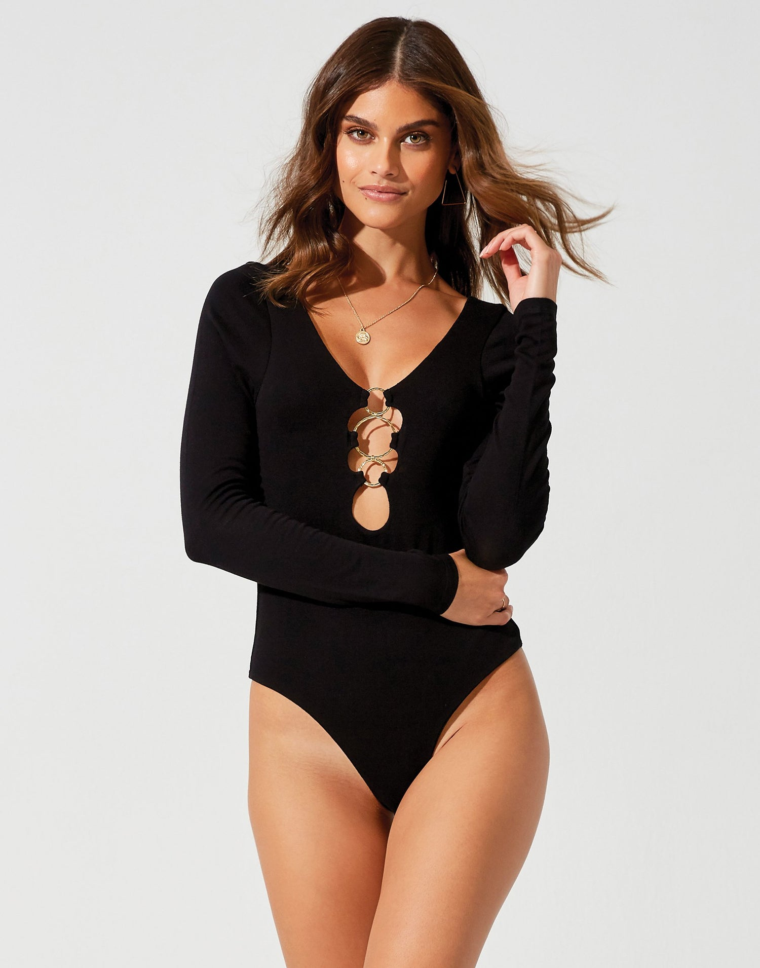 Lolo Bodysuit in Black with Gold Hardware - front view