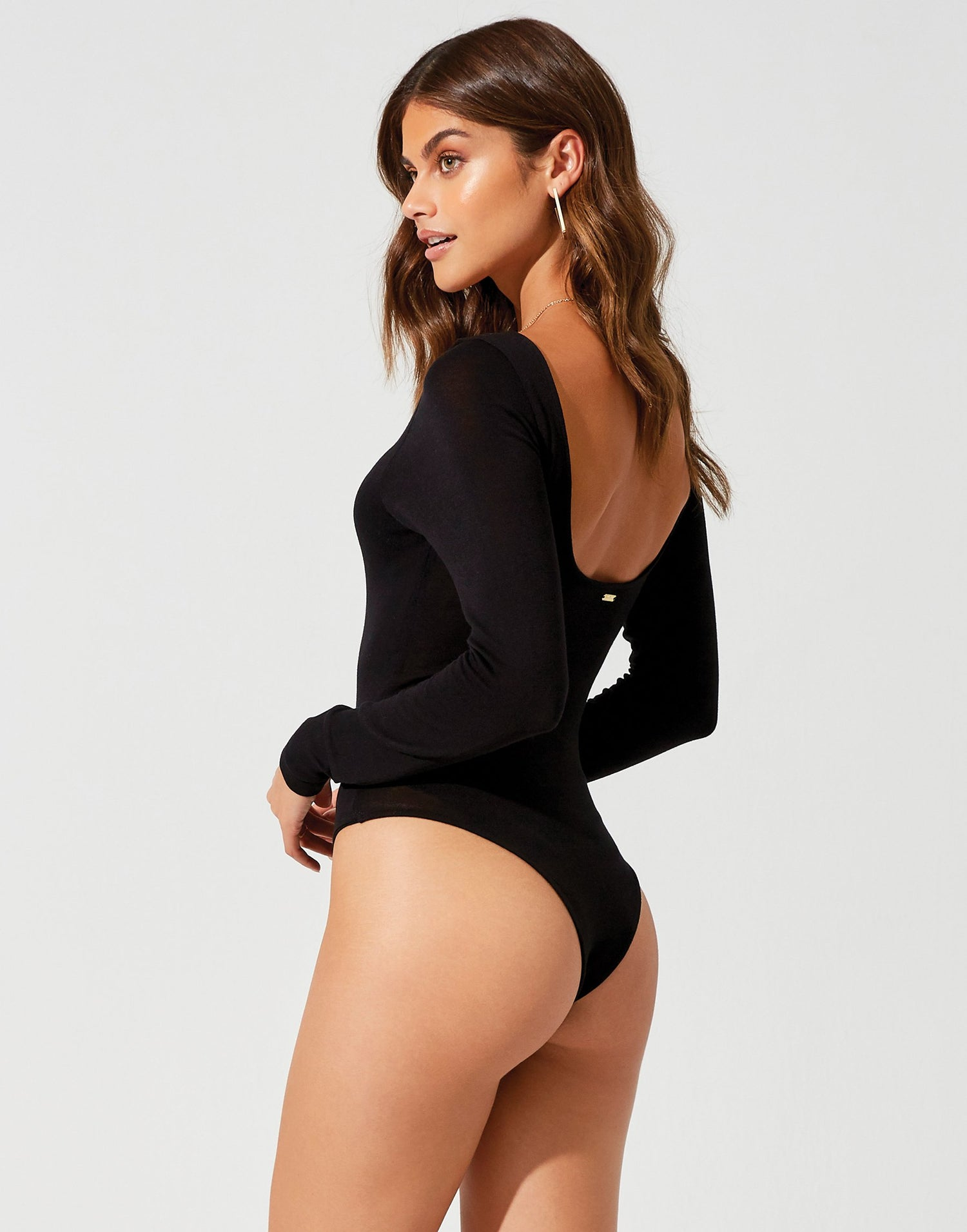Lolo Bodysuit in Black with Open Back - back view