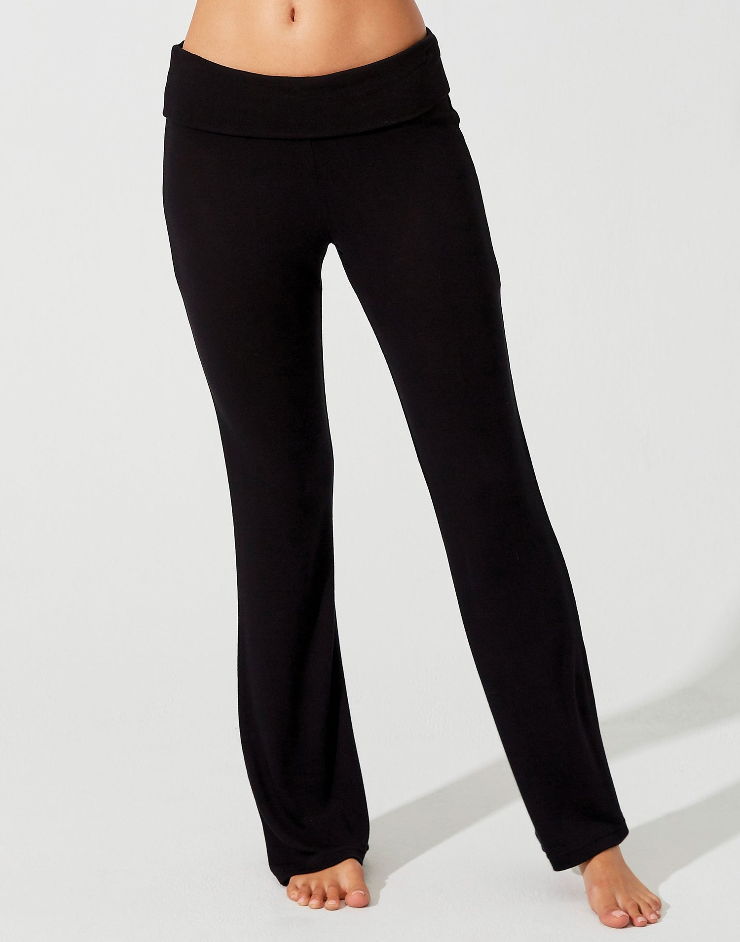 Lolo Pant in Black with Fold Over Waistband - alternate front view