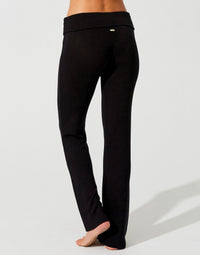 Lolo Pant in Black with Fold Over Waistband - alternate back view