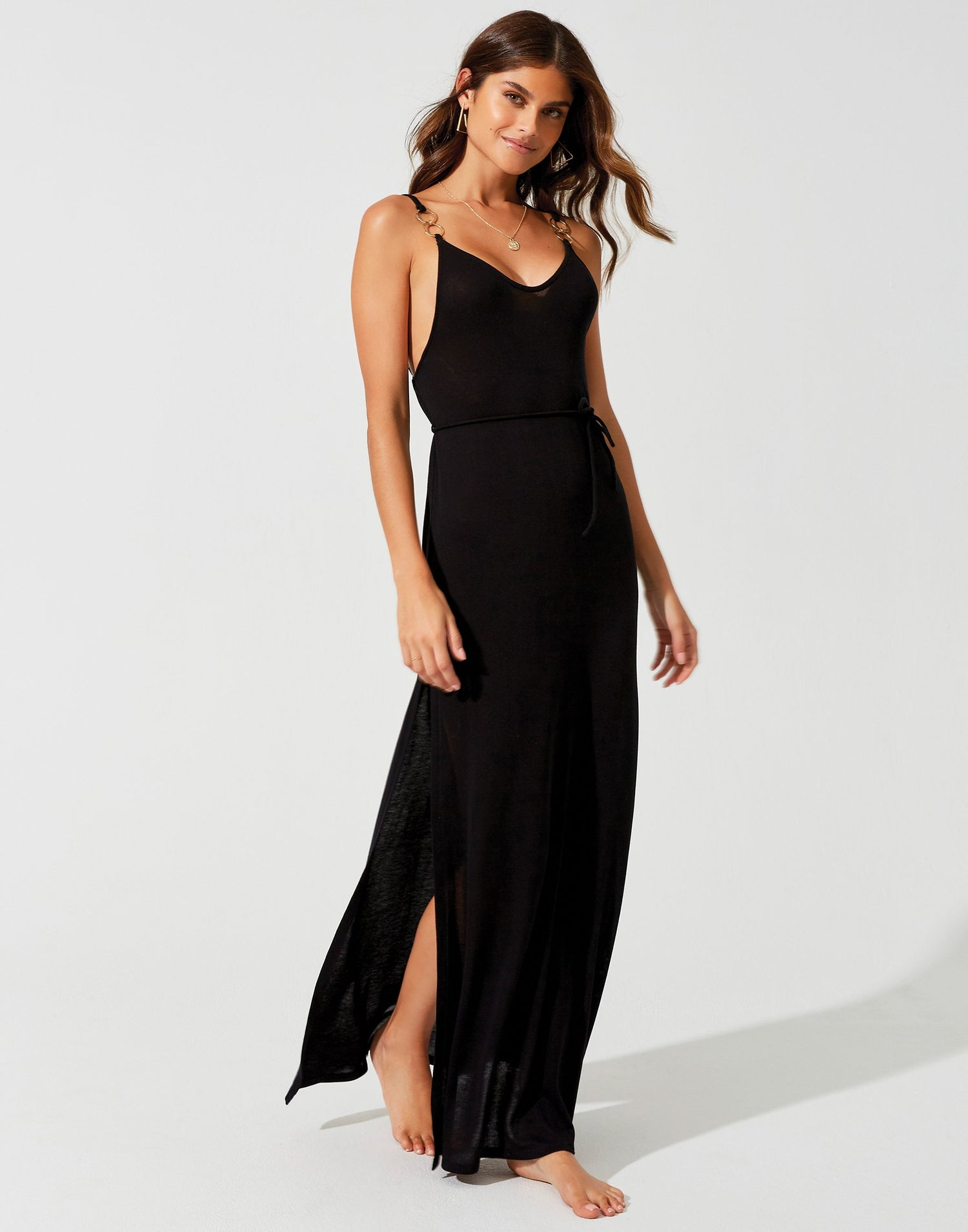 Lolo Maxi Dress in Black with Gold Hardware and Leg Slits - front view