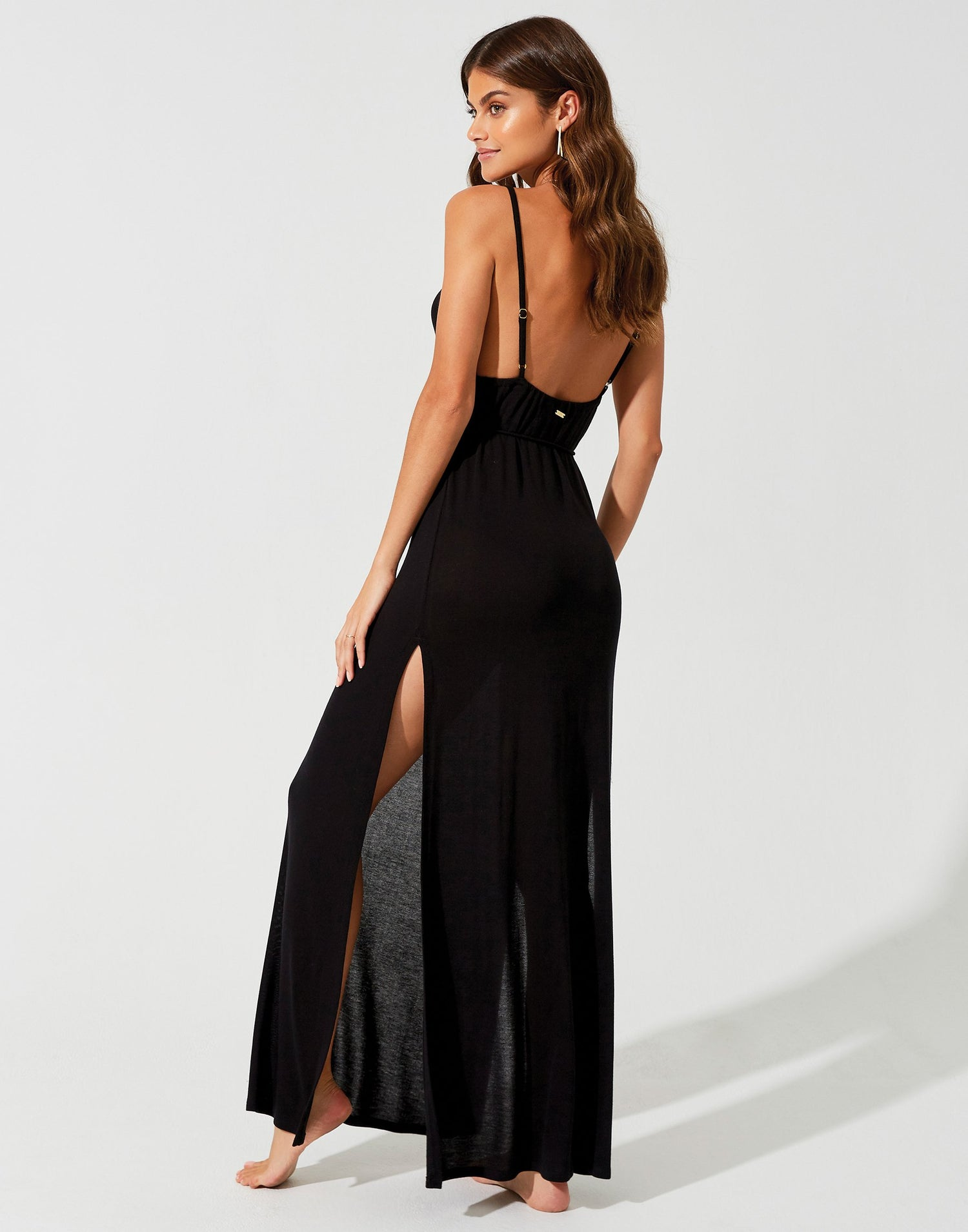 Lolo Maxi Dress in Black with Leg Slits and Open Back - back view
