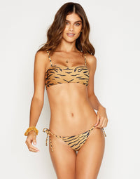 London Bralette Bikini Top in Tiger with Straps - alternate front view