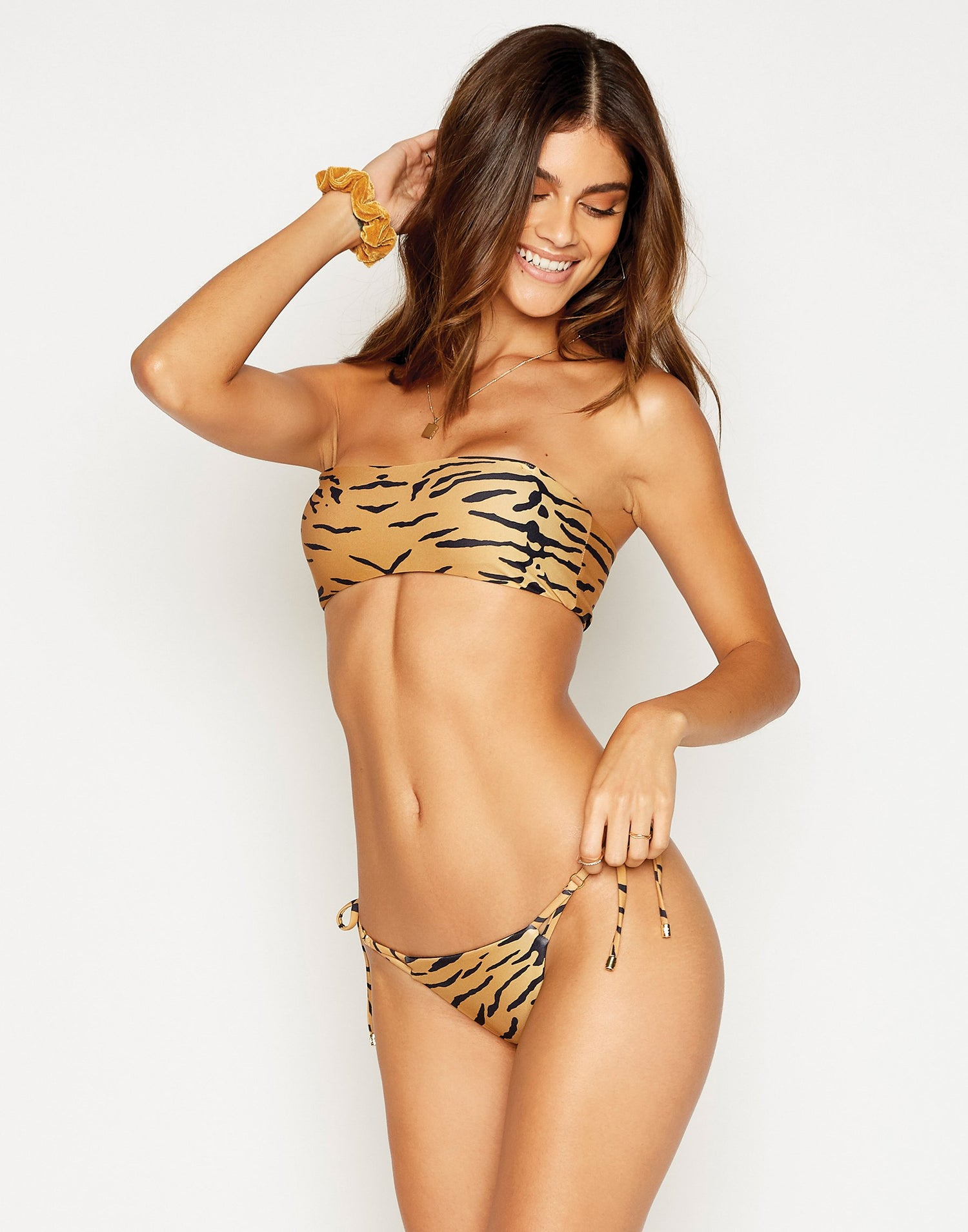 London Bralette Bikini Top in Tiger without Straps - front view