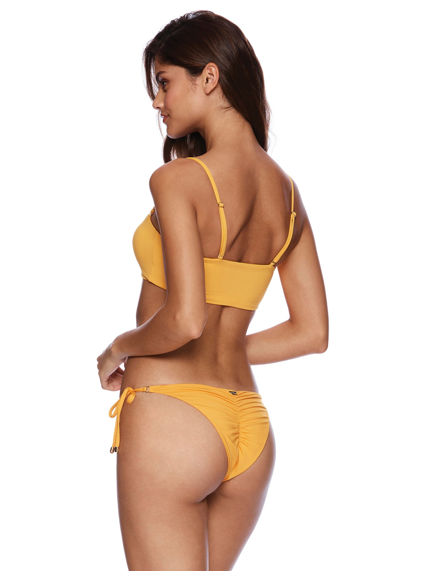 Piper Tie Side Bikini Bottom in Soleil Orange - back view