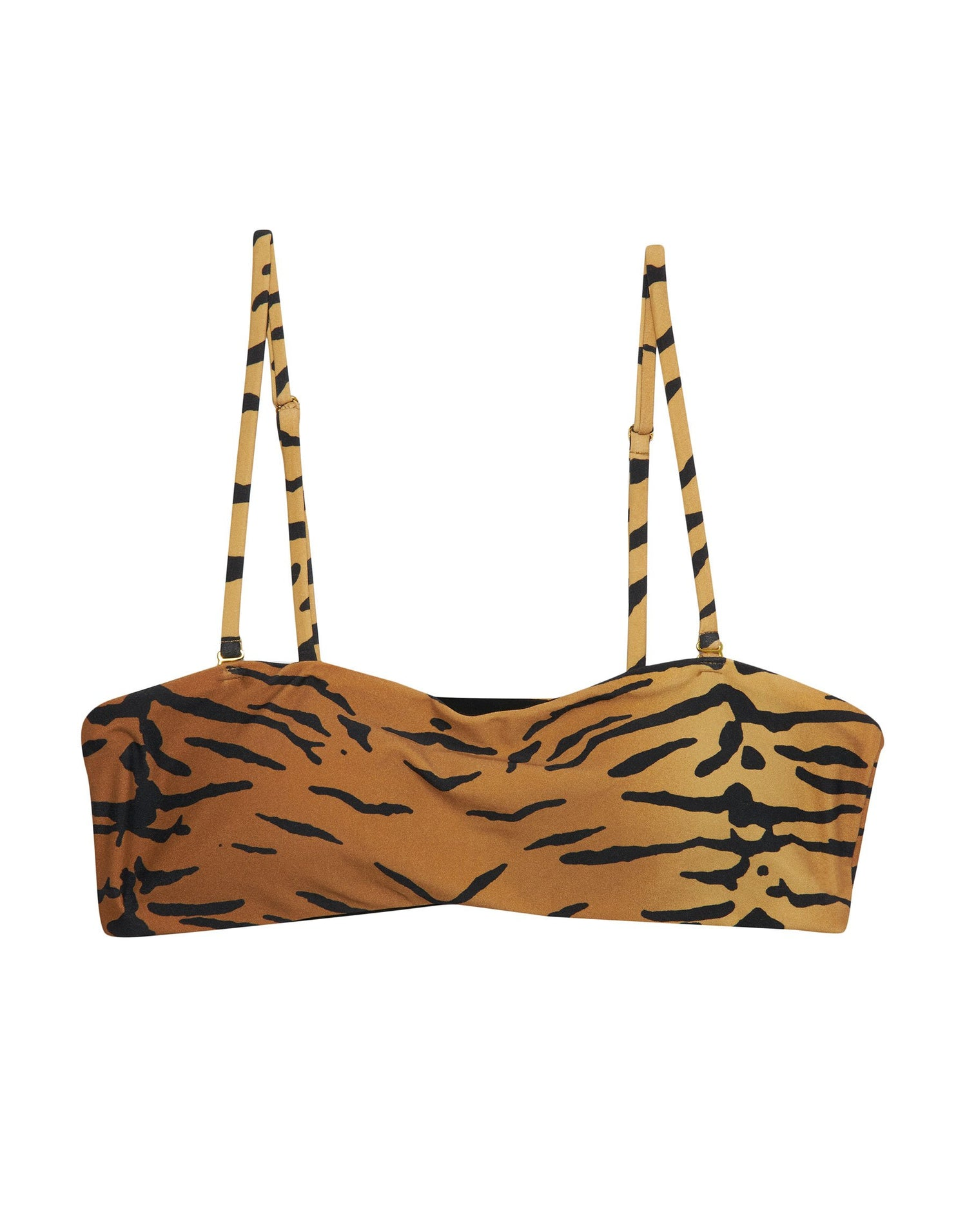 London Bralette Bikini Top in Tiger with Straps - product view