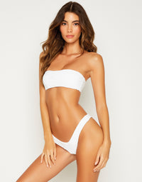 London Sexy Bralette Bikini Top in White - alternate front view