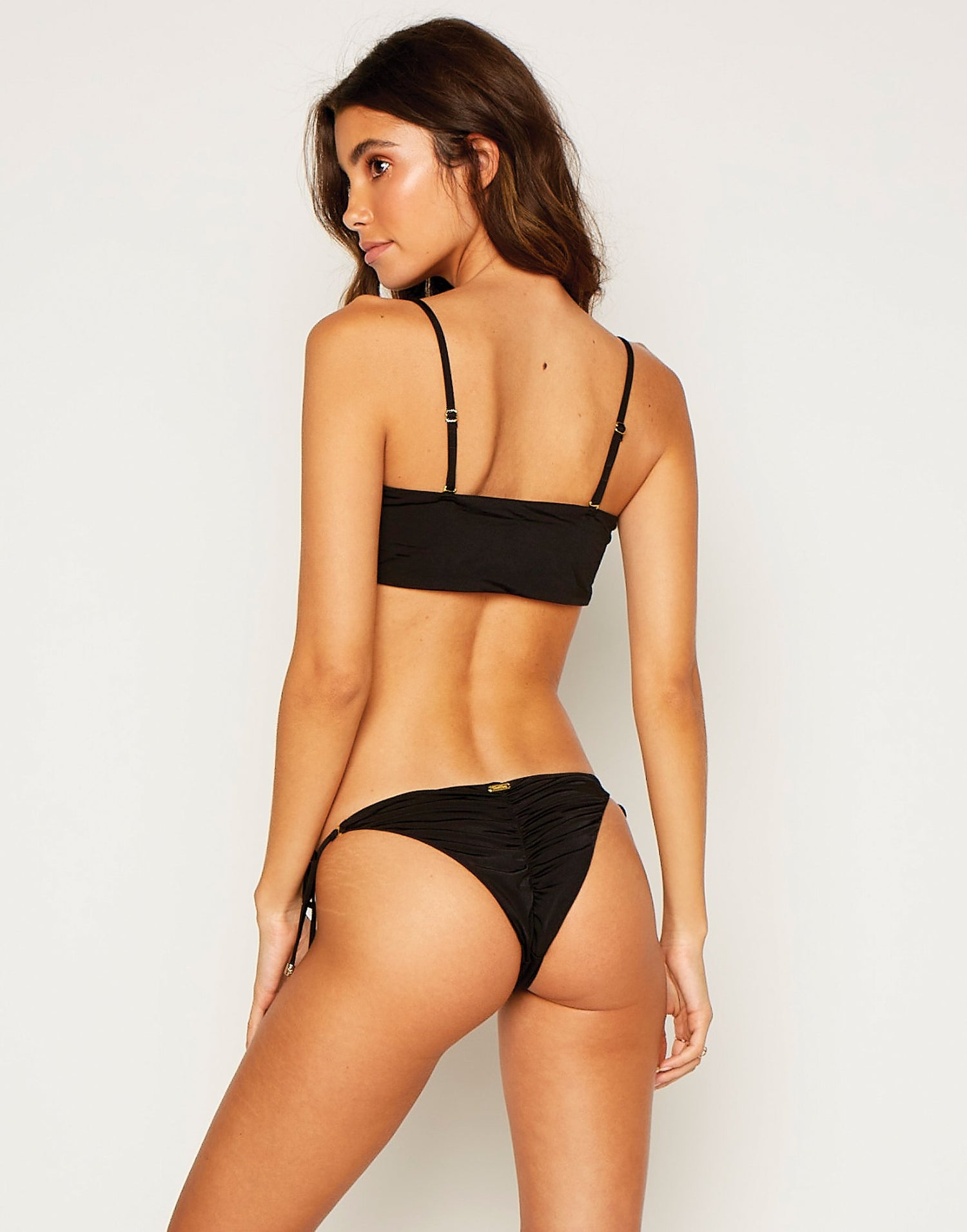 Piper Tie Side Bikini Bottom in Black - side view