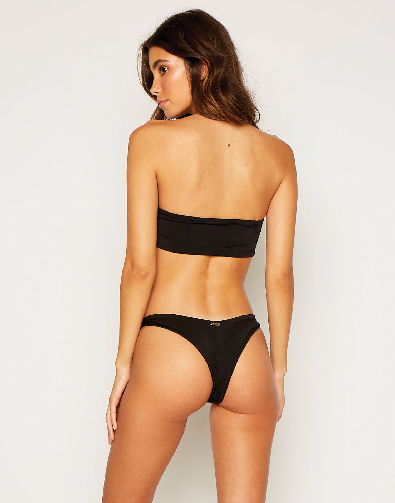 London Bralette Bikini Top in Black without Straps - back view