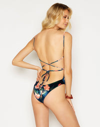 Luna One Piece in Velvet Midnight Floral with Criss-Cross Strap Detail - back view