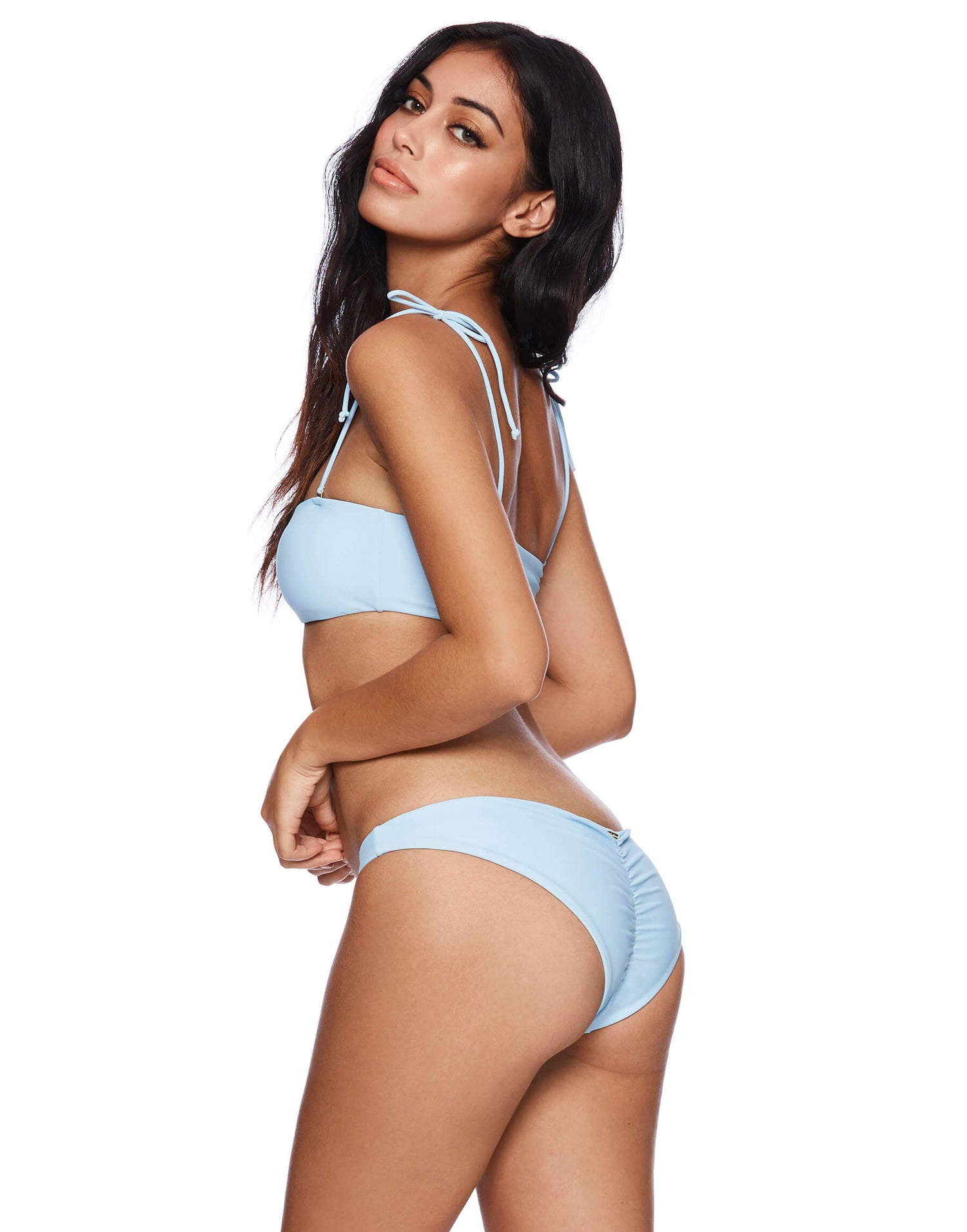 Light Blue Angela Skimpy Bikini Bottom - back view