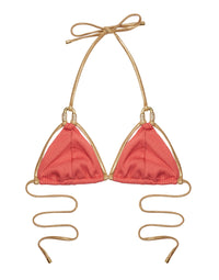 Madagascar Glam Triangle Bikini Top in Rose Pink Rib with Gold Hardware - product view