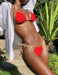 Madagascar Glam Tie Side Bikini Bottom in Red with Gold Hardware - Detail View