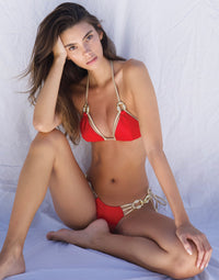 Madagascar Glam Tie Side Bikini Bottom in Red with Gold Hardware - Alternate Front View