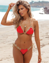 Madagascar Glam Tie Side Bikini Bottom in Red with Gold Hardware - Front View