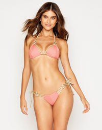 Madagascar Glam Triangle Bikini Top in Rose Pink Rib with Gold Hardware - front view