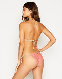 Madagascar Glam Tie Side Bikini Bottom in Rose Pink Rib - back view