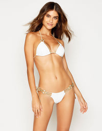 Madagascar Glam Tie Side Bikini Bottom in White Rib with Gold Hardware - front view