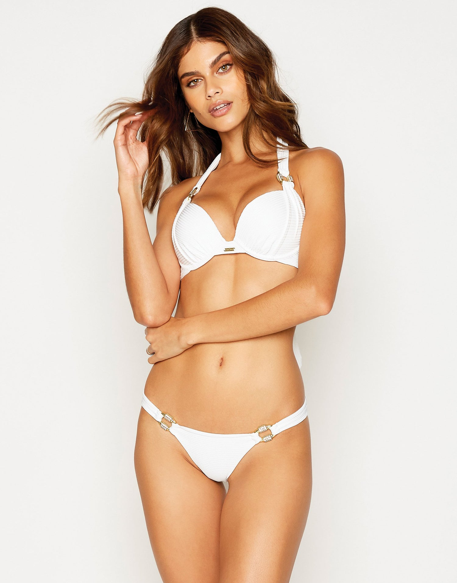 Madagascar Glam Skimpy Bikini Bottom in White Rib with Gold Hardware - front view