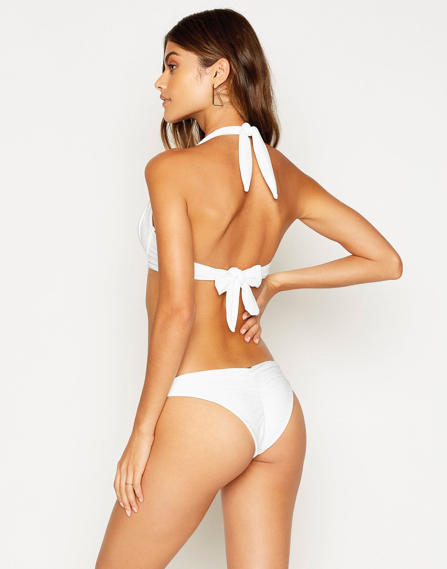 Madagascar Glam Skimpy Bikini Bottom in White Rib - back view