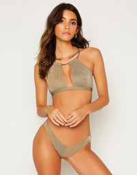 Madison High Apex Bikini Top in Tortuga with Gold Hardware - Front View