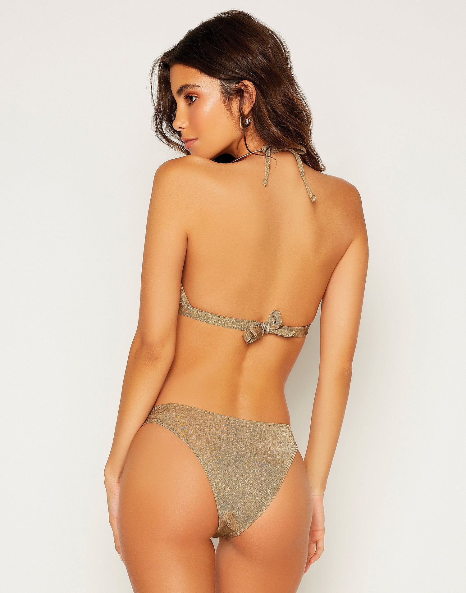 Madison High Apex Bikini Top in Tortuga with Gold Hardware - Back View