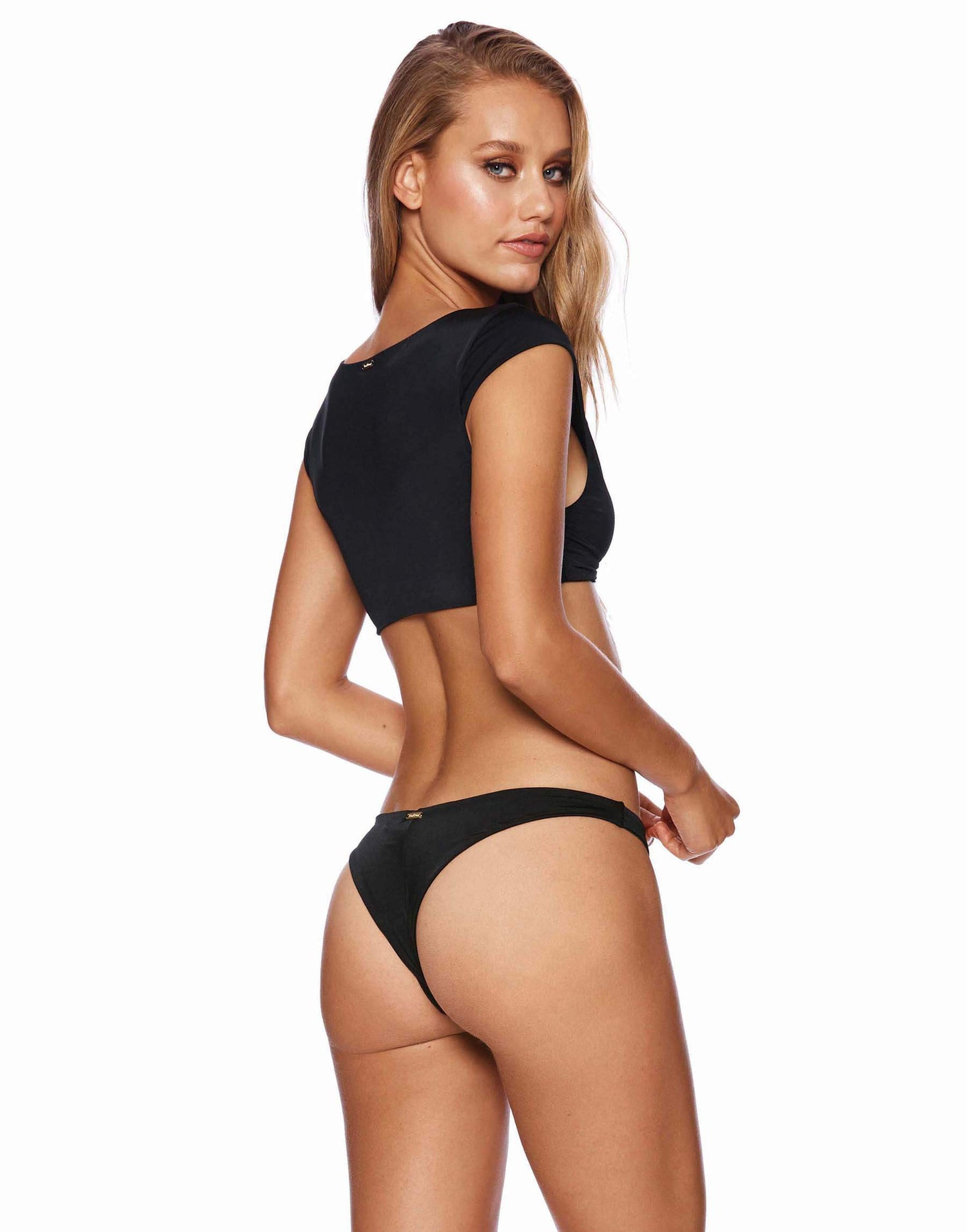Margeaux Crop Bikini Top in Black - back view