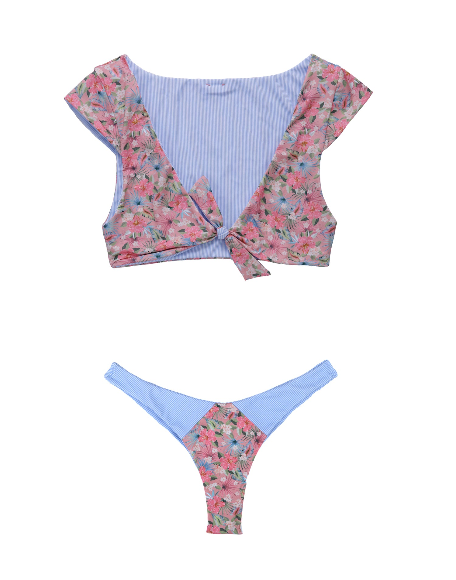 Margeaux Reversible Crop Bikini Top in Marseille Floral - product view