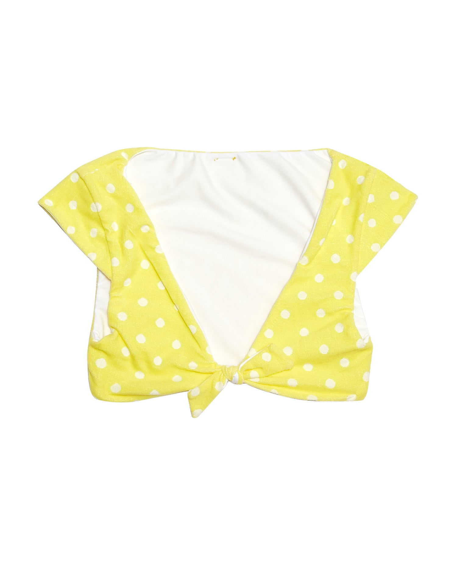 Margeaux Crop Bikini Top in Lemon Yellow Polka Dot - product view