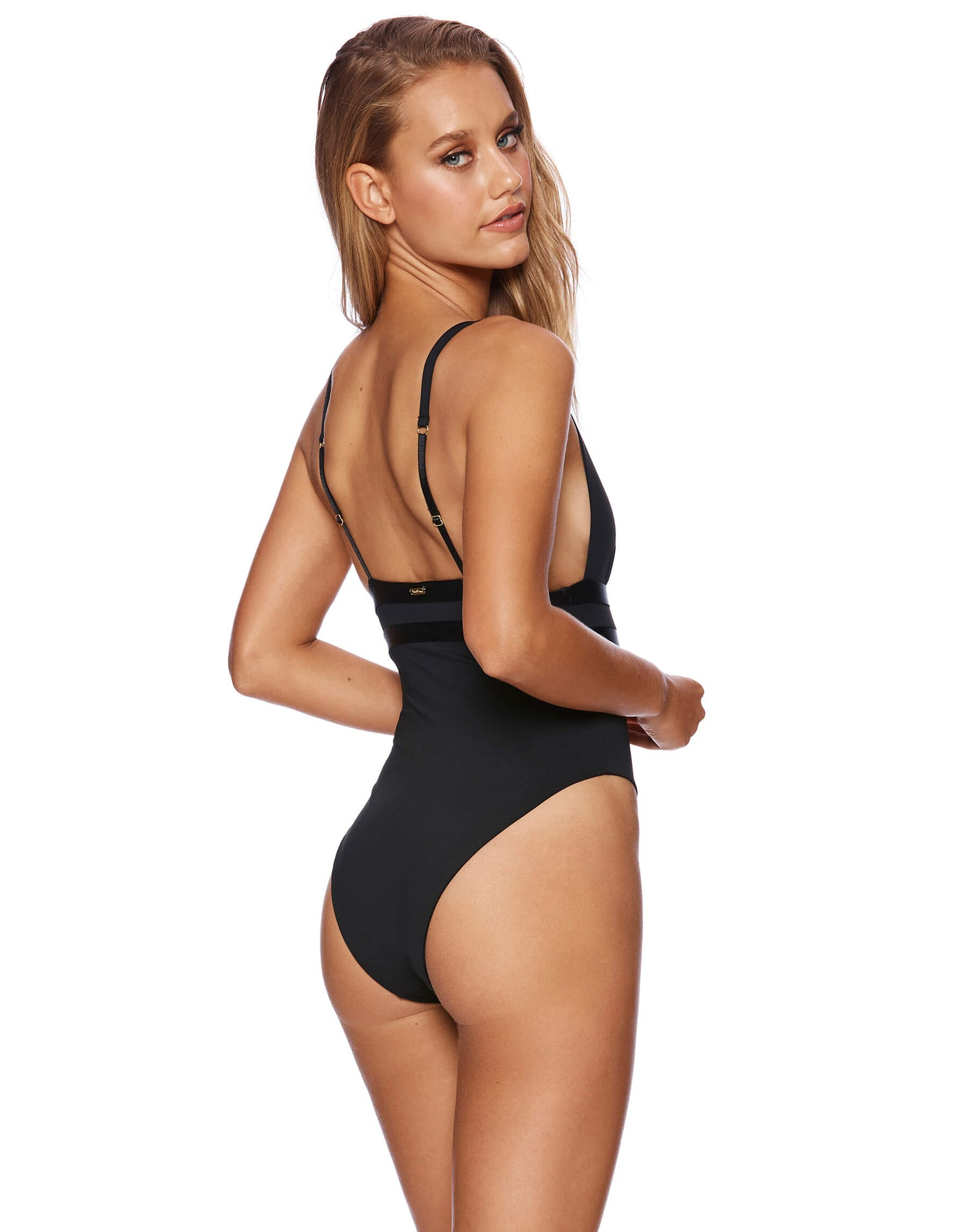 Mia Skimpy One Piece in Black - back view