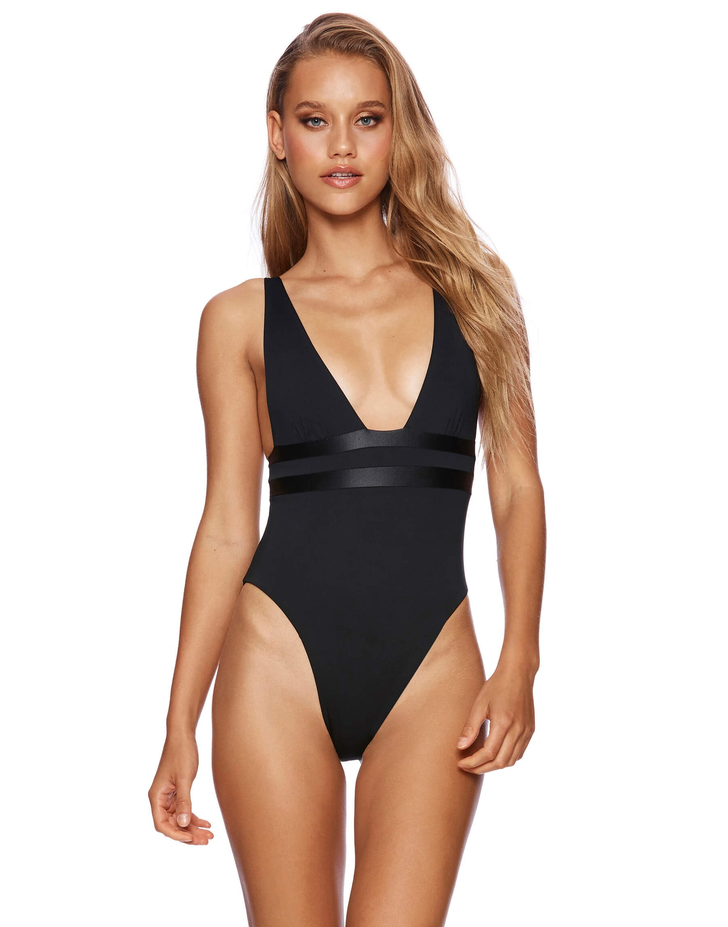 Mia Skimpy One Piece in Black - front view