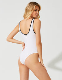 Mila Bodysuit in White Rib - back view