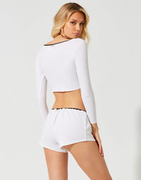 Mila Crop Top in White Rib - back view